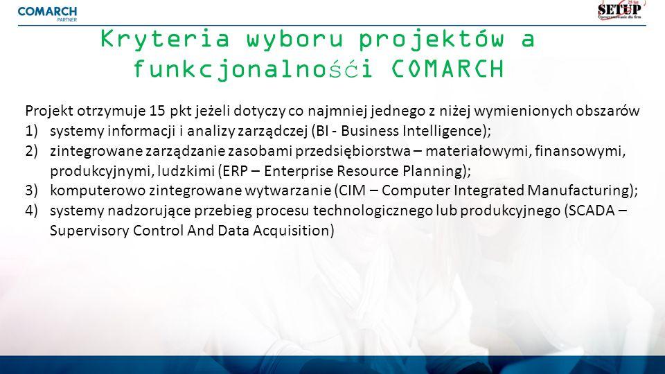 Kryteria wyboru projektów a funkcjonalnośći COMARCH Projekt otrzymuje 15 pkt jeżeli dotyczy co najmniej jednego z niżej wymienionych obszarów 1)system
