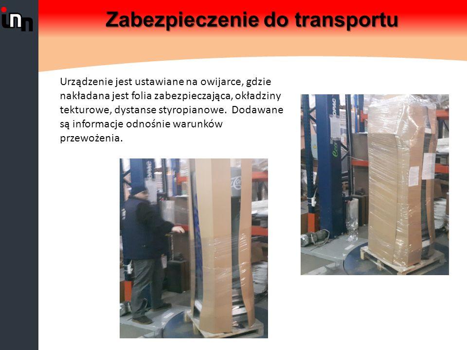 Zabezpieczenie do transportu Urządzenie jest ustawiane na owijarce, gdzie nakładana jest folia zabezpieczająca, okładziny tekturowe, dystanse styropianowe.