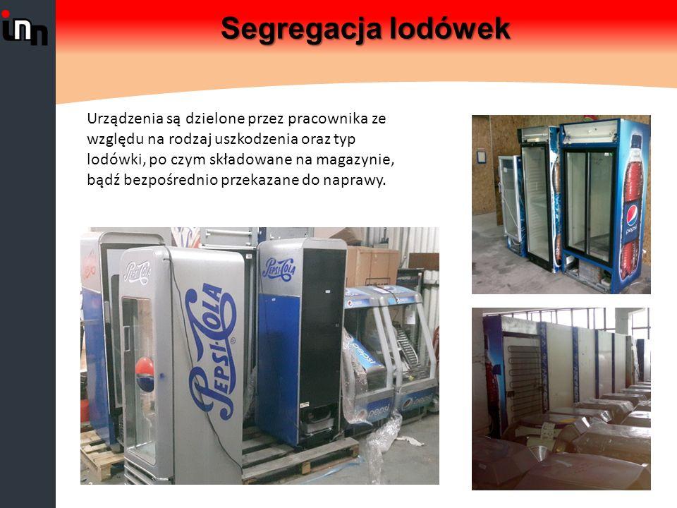Segregacja lodówek Urządzenia są dzielone przez pracownika ze względu na rodzaj uszkodzenia oraz typ lodówki, po czym składowane na magazynie, bądź bezpośrednio przekazane do naprawy.