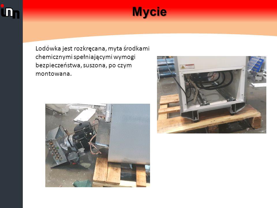 Mycie Lodówka jest rozkręcana, myta środkami chemicznymi spełniającymi wymogi bezpieczeństwa, suszona, po czym montowana.