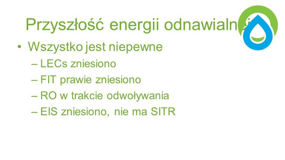 Przyszłość energii odnawialnej Wszystko jest niepewne –LECs zniesiono –FIT prawie zniesiono –RO w trakcie odwoływania –EIS zniesiono, nie ma SITR