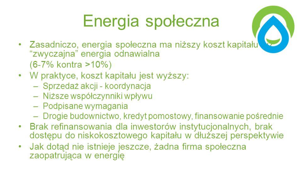 Energia społeczna Zasadniczo, energia społeczna ma niższy koszt kapitału niż zwyczajna energia odnawialna (6-7% kontra >10%) W praktyce, koszt kapitału jest wyższy: –Sprzedaż akcji - koordynacja –Niższe współczynniki wpływu –Podpisane wymagania –Drogie budownictwo, kredyt pomostowy, finansowanie pośrednie Brak refinansowania dla inwestorów instytucjonalnych, brak dostępu do niskokosztowego kapitału w dłuższej perspektywie Jak dotąd nie istnieje jeszcze, żadna firma społeczna zaopatrująca w energię