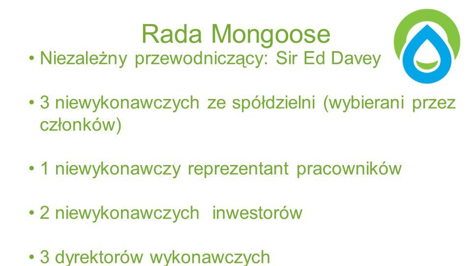 Rada Mongoose Niezależny przewodniczący: Sir Ed Davey 3 niewykonawczych ze spółdzielni (wybierani przez członków) 1 niewykonawczy reprezentant pracowników 2 niewykonawczych inwestorów 3 dyrektorów wykonawczych