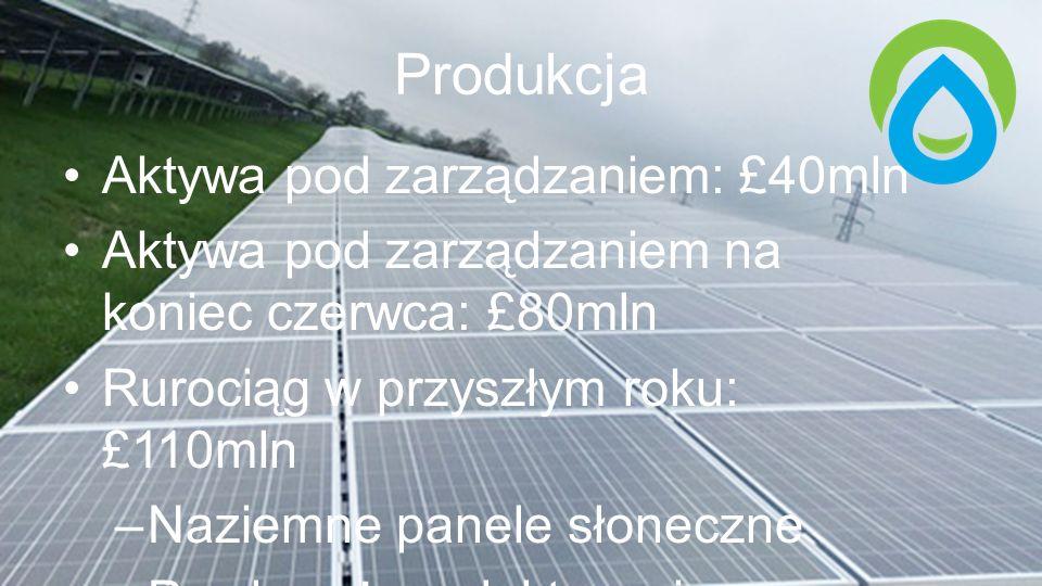Produkcja Aktywa pod zarządzaniem: £40mln Aktywa pod zarządzaniem na koniec czerwca: £80mln Rurociąg w przyszłym roku: £110mln –Naziemne panele słoneczne –Przybrzeżne elektrownie wiatrowe