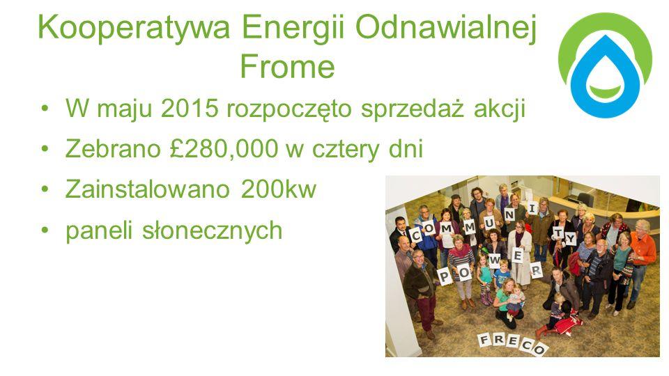 Kooperatywa Energii Odnawialnej Frome W maju 2015 rozpoczęto sprzedaż akcji Zebrano £280,000 w cztery dni Zainstalowano 200kw paneli słonecznych