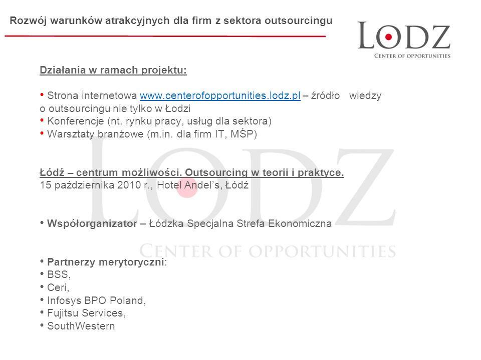 Działania w ramach projektu: Strona internetowa www.centerofopportunities.lodz.pl – źródło wiedzy o outsourcingu nie tylko w Łodziwww.centerofopportunities.lodz.pl Konferencje (nt.