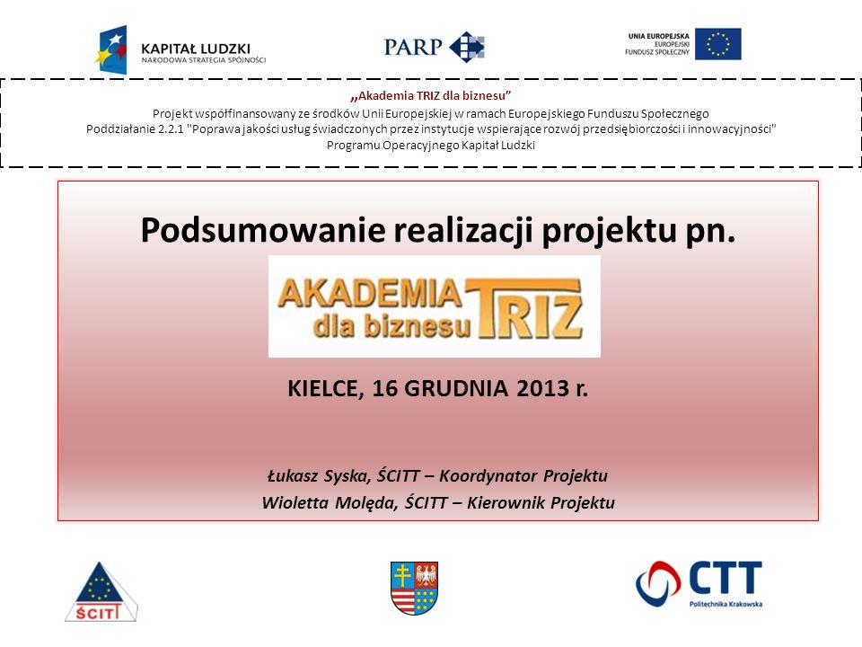Podsumowanie realizacji projektu pn. KIELCE, 16 GRUDNIA 2013 r.
