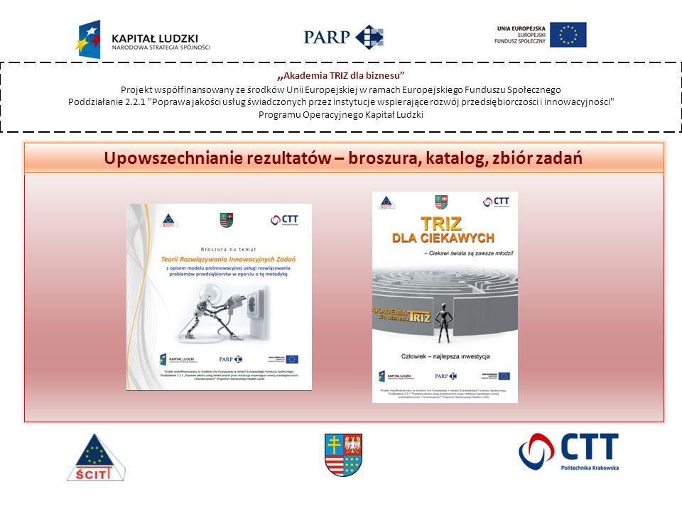 """"""" Akademia TRIZ dla biznesu Projekt współfinansowany ze środków Unii Europejskiej w ramach Europejskiego Funduszu Społecznego Poddziałanie 2.2.1 Poprawa jakości usług świadczonych przez instytucje wspierające rozwój przedsiębiorczości i innowacyjności Programu Operacyjnego Kapitał Ludzki Upowszechnianie rezultatów – broszura, katalog, zbiór zadań"""