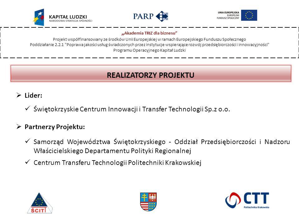 """"""" Akademia TRIZ dla biznesu Projekt współfinansowany ze środków Unii Europejskiej w ramach Europejskiego Funduszu Społecznego Poddziałanie 2.2.1 Poprawa jakości usług świadczonych przez instytucje wspierające rozwój przedsiębiorczości i innowacyjności Programu Operacyjnego Kapitał Ludzki REALIZATORZY PROJEKTU  Lider: Świętokrzyskie Centrum Innowacji i Transfer Technologii Sp.z o.o."""