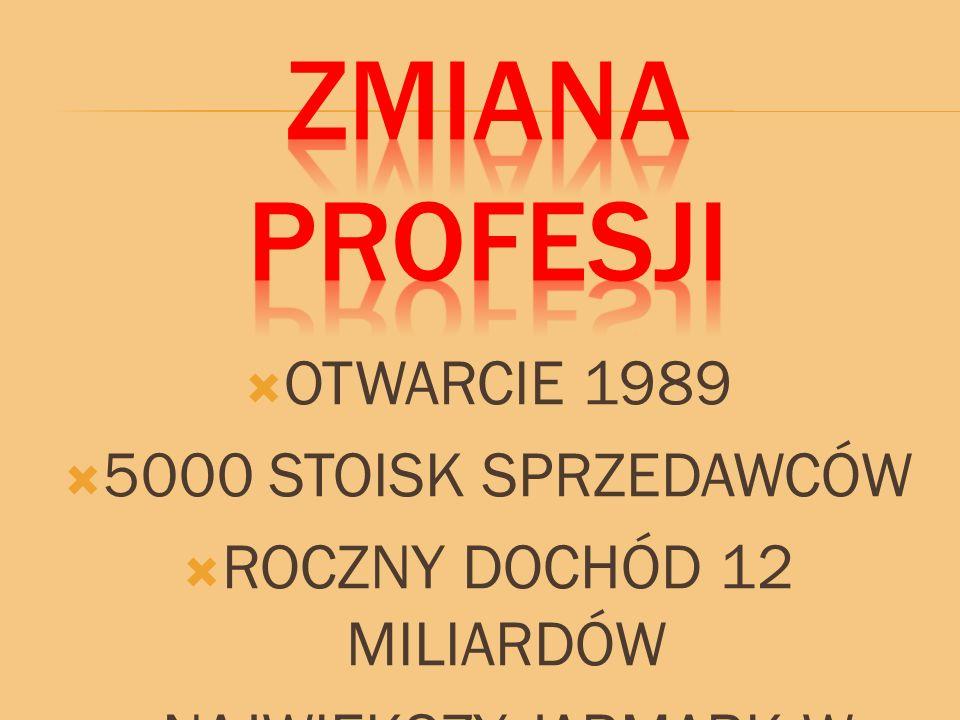  OTWARCIE 1989  5000 STOISK SPRZEDAWCÓW  ROCZNY DOCHÓD 12 MILIARDÓW  NAJWIĘKSZY JARMARK W EUROPIE