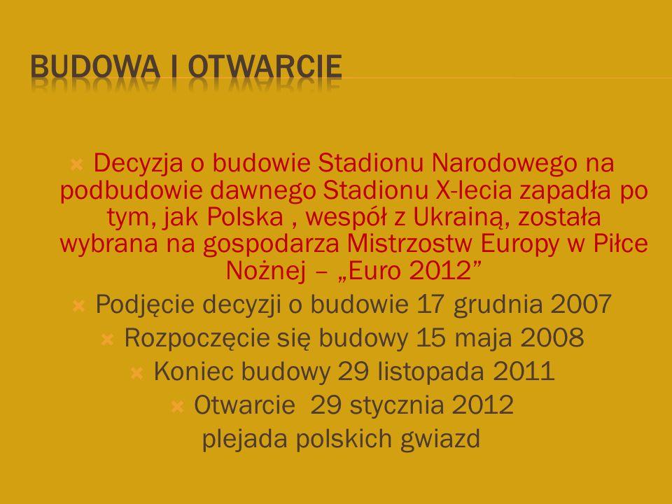  Decyzja o budowie Stadionu Narodowego na podbudowie dawnego Stadionu X-lecia zapadła po tym, jak Polska, wespół z Ukrainą, została wybrana na gospod