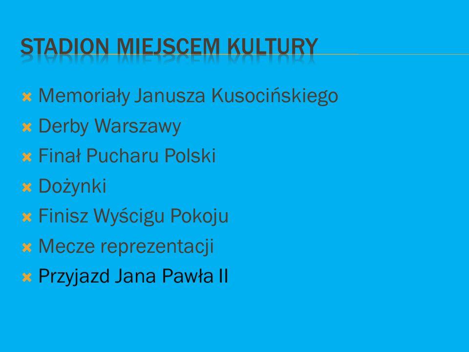  Memoriały Janusza Kusocińskiego  Derby Warszawy  Finał Pucharu Polski  Dożynki  Finisz Wyścigu Pokoju  Mecze reprezentacji  Przyjazd Jana Pawł