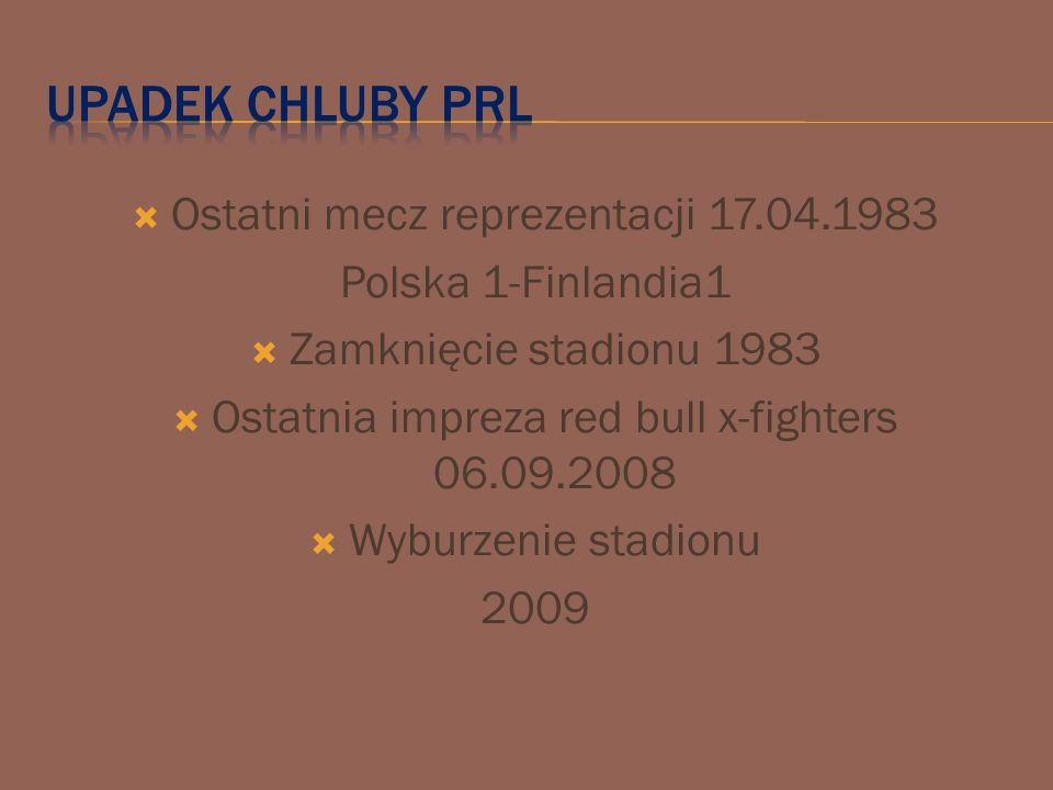  Ostatni mecz reprezentacji 17.04.1983 Polska 1-Finlandia1  Zamknięcie stadionu 1983  Ostatnia impreza red bull x-fighters 06.09.2008  Wyburzenie