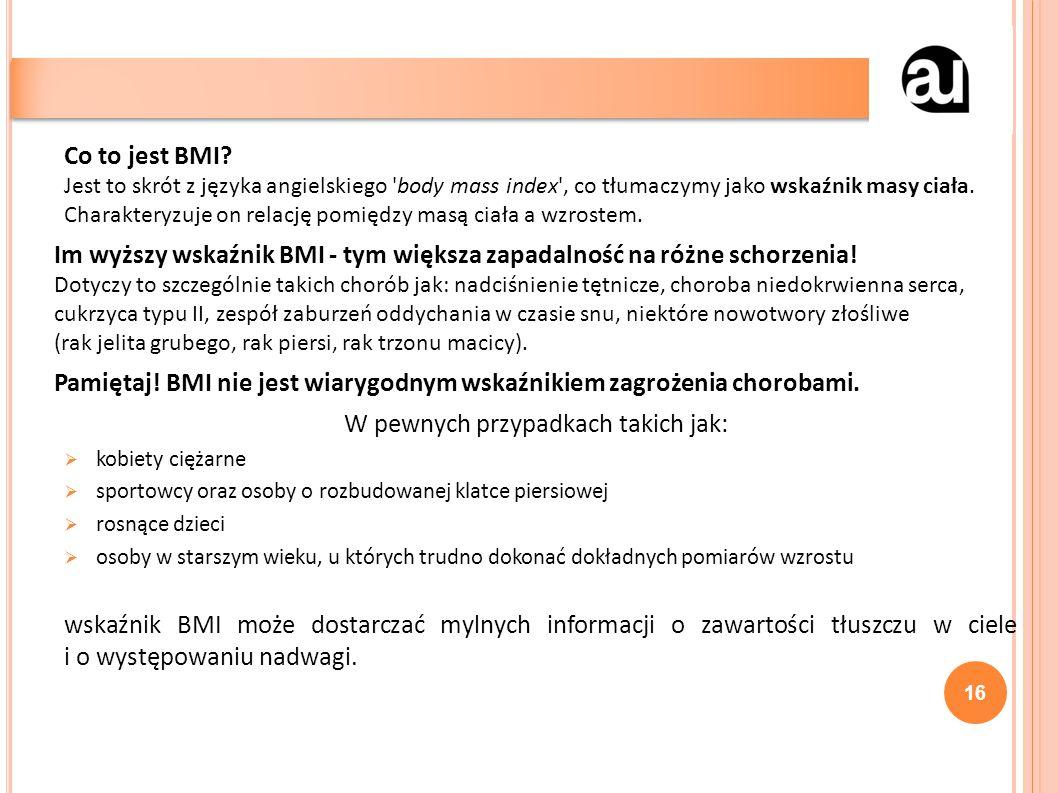 Co to jest BMI? Jest to skrót z języka angielskiego 'body mass index', co tłumaczymy jako wskaźnik masy ciała. Charakteryzuje on relację pomiędzy masą