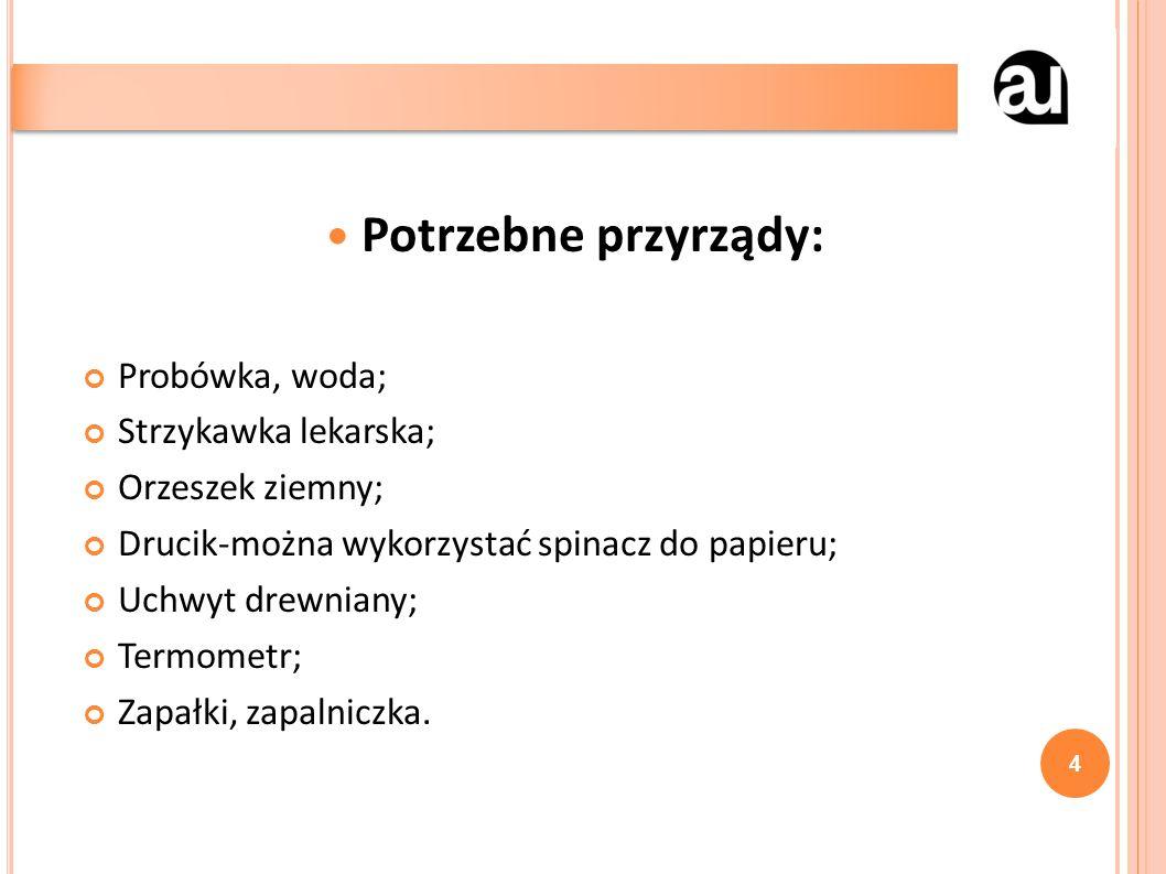 Potrzebne przyrządy: Probówka, woda; Strzykawka lekarska; Orzeszek ziemny; Drucik-można wykorzystać spinacz do papieru; Uchwyt drewniany; Termometr; Z