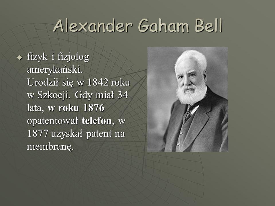 Alexander Gaham Bell  fizyk i fizjolog amerykański.