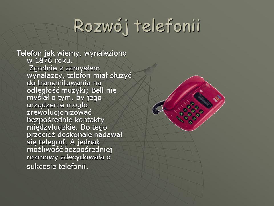 Rozwój telefonii Telefon jak wiemy, wynaleziono w 1876 roku.