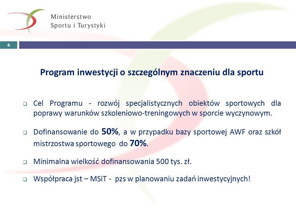 Program inwestycji o szczególnym znaczeniu dla sportu  Cel Programu - rozwój specjalistycznych obiektów sportowych dla poprawy warunków szkoleniowo-treningowych w sporcie wyczynowym.