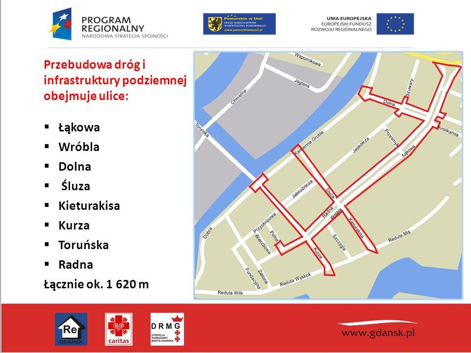 Przebudowa dróg i infrastruktury podziemnej obejmuje ulice:  Łąkowa  Wróbla  Dolna  Śluza  Kieturakisa  Kurza  Toruńska  Radna Łącznie ok. 1 6
