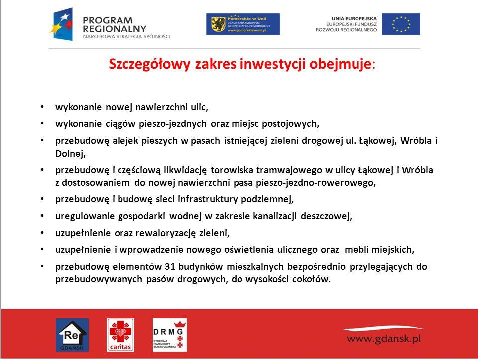 Szczegółowy zakres inwestycji obejmuje: wykonanie nowej nawierzchni ulic, wykonanie ciągów pieszo-jezdnych oraz miejsc postojowych, przebudowę alejek