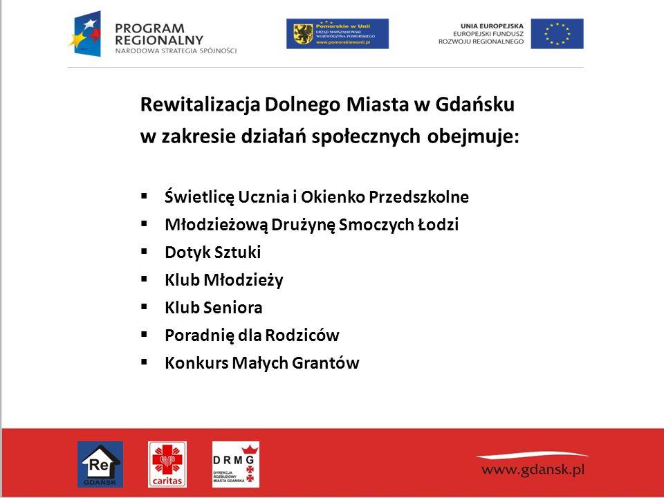 Rewitalizacja Dolnego Miasta w Gdańsku w zakresie działań społecznych obejmuje:  Świetlicę Ucznia i Okienko Przedszkolne  Młodzieżową Drużynę Smoczych Łodzi  Dotyk Sztuki  Klub Młodzieży  Klub Seniora  Poradnię dla Rodziców  Konkurs Małych Grantów
