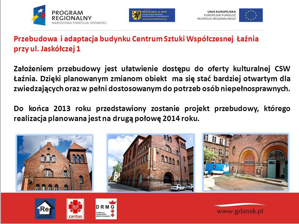 Przebudowa i adaptacja budynku Centrum Sztuki Współczesnej Łaźnia przy ul. Jaskółczej 1 Założeniem przebudowy jest ułatwienie dostępu do oferty kultur