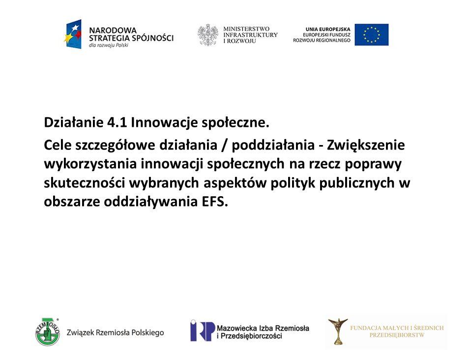 Działanie 4.1 Innowacje społeczne. Cele szczegółowe działania / poddziałania - Zwiększenie wykorzystania innowacji społecznych na rzecz poprawy skutec