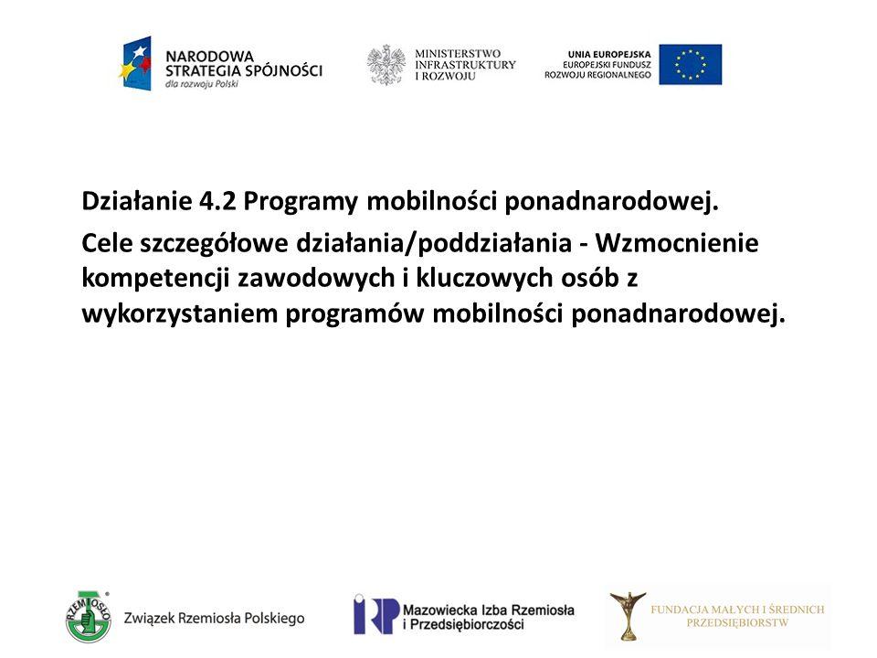 Działanie 4.2 Programy mobilności ponadnarodowej. Cele szczegółowe działania/poddziałania - Wzmocnienie kompetencji zawodowych i kluczowych osób z wyk