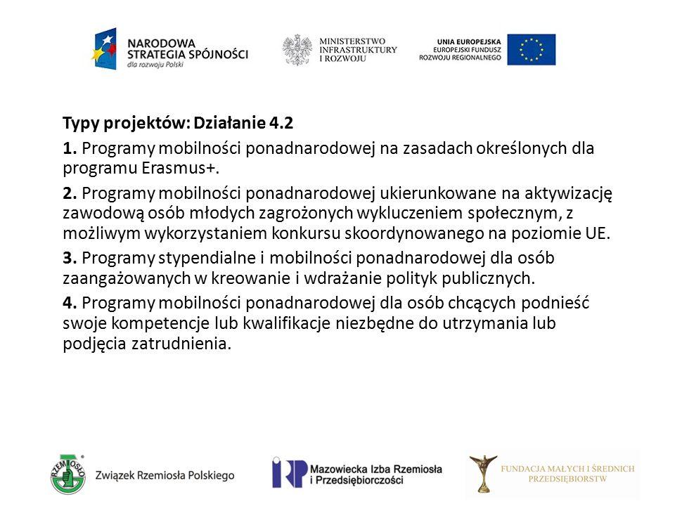 Typy projektów: Działanie 4.2 1. Programy mobilności ponadnarodowej na zasadach określonych dla programu Erasmus+. 2. Programy mobilności ponadnarodow