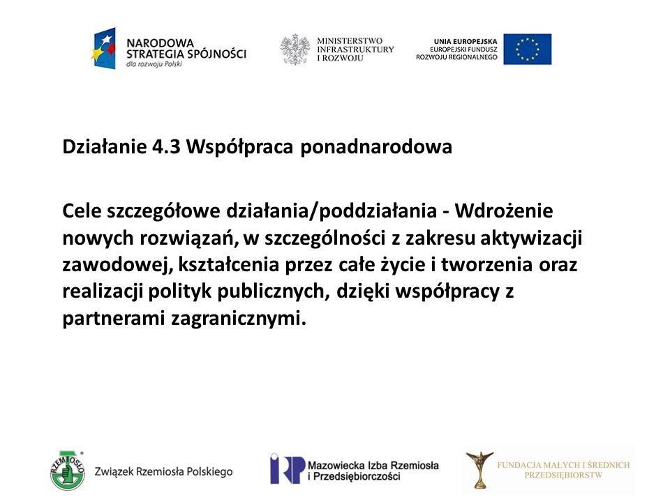Działanie 4.3 Współpraca ponadnarodowa Cele szczegółowe działania/poddziałania - Wdrożenie nowych rozwiązań, w szczególności z zakresu aktywizacji zaw
