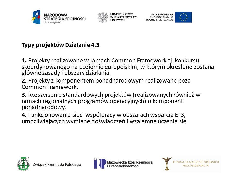 Typy projektów Działanie 4.3 1. Projekty realizowane w ramach Common Framework tj. konkursu skoordynowanego na poziomie europejskim, w którym określon