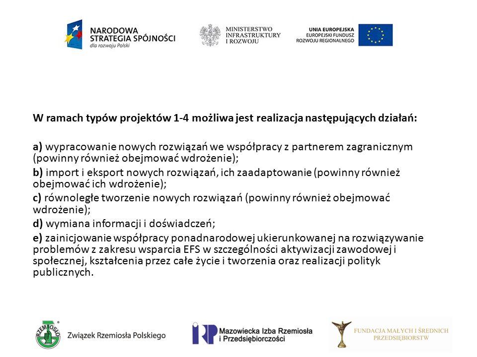 W ramach typów projektów 1-4 możliwa jest realizacja następujących działań: a) wypracowanie nowych rozwiązań we współpracy z partnerem zagranicznym (p