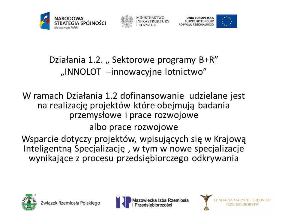 """Działania 1.2. """" Sektorowe programy B+R"""" """"INNOLOT –innowacyjne lotnictwo"""" W ramach Działania 1.2 dofinansowanie udzielane jest na realizację projektów"""