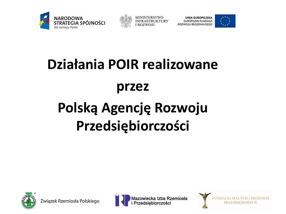 Działania POIR realizowane przez Polską Agencję Rozwoju Przedsiębiorczości