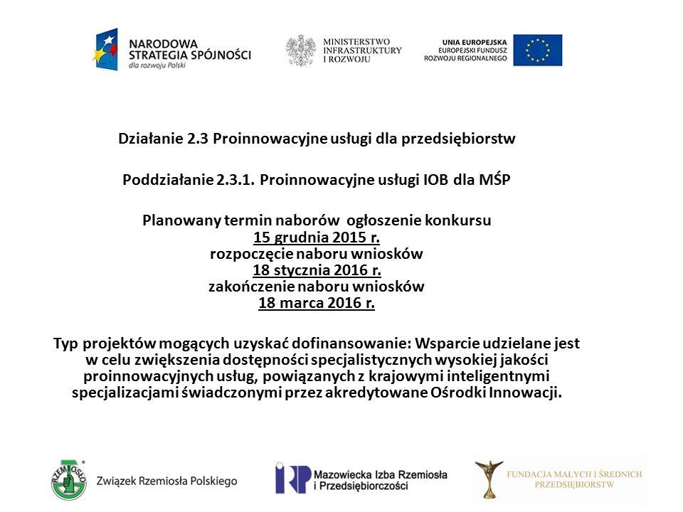 Działanie 2.3 Proinnowacyjne usługi dla przedsiębiorstw Poddziałanie 2.3.1. Proinnowacyjne usługi IOB dla MŚP Planowany termin naborów ogłoszenie konk