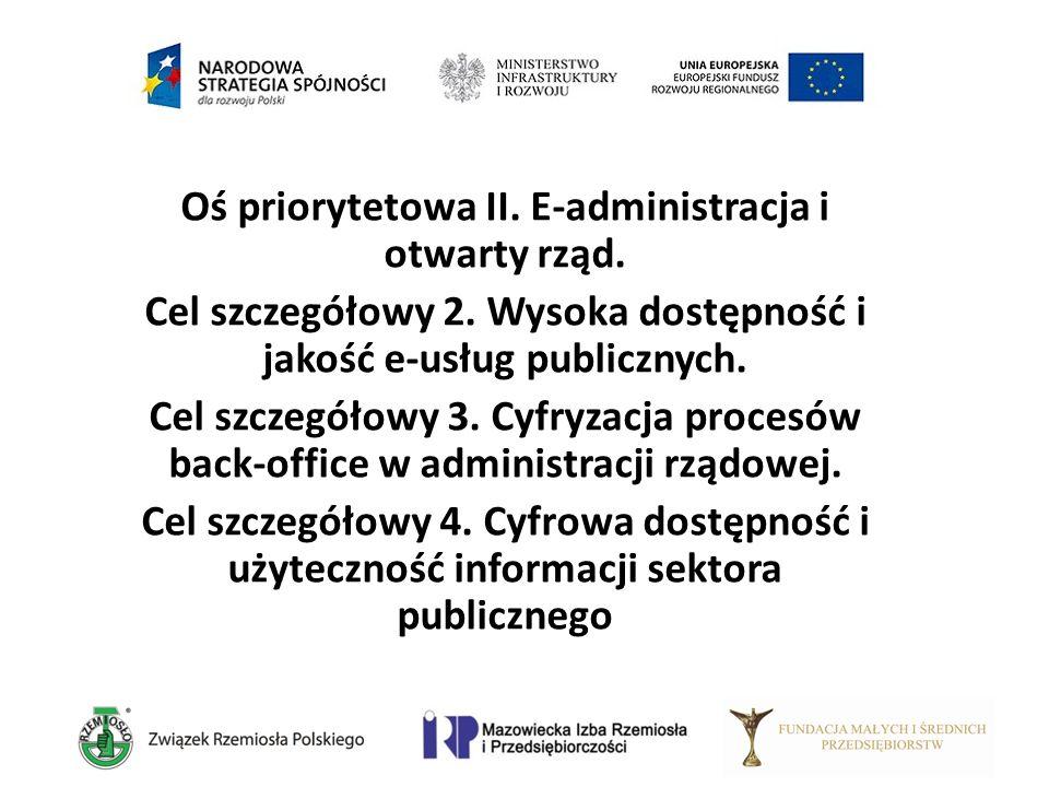 Oś priorytetowa II. E-administracja i otwarty rząd. Cel szczegółowy 2. Wysoka dostępność i jakość e-usług publicznych. Cel szczegółowy 3. Cyfryzacja p