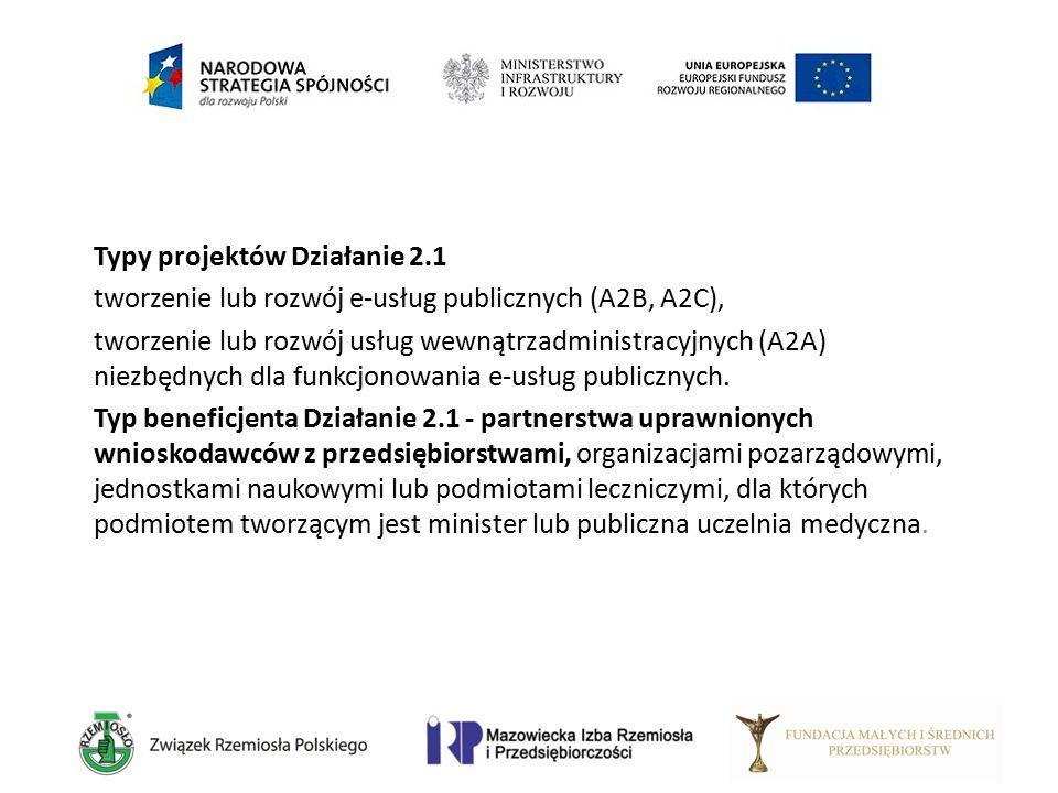 Typy projektów Działanie 2.1 tworzenie lub rozwój e-usług publicznych (A2B, A2C), tworzenie lub rozwój usług wewnątrzadministracyjnych (A2A) niezbędny
