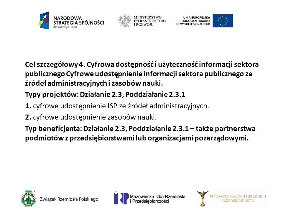 Cel szczegółowy 4. Cyfrowa dostępność i użyteczność informacji sektora publicznego Cyfrowe udostępnienie informacji sektora publicznego ze źródeł admi