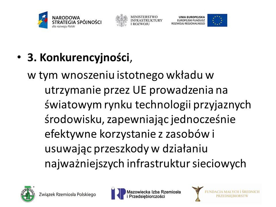 3. Konkurencyjności, w tym wnoszeniu istotnego wkładu w utrzymanie przez UE prowadzenia na światowym rynku technologii przyjaznych środowisku, zapewni