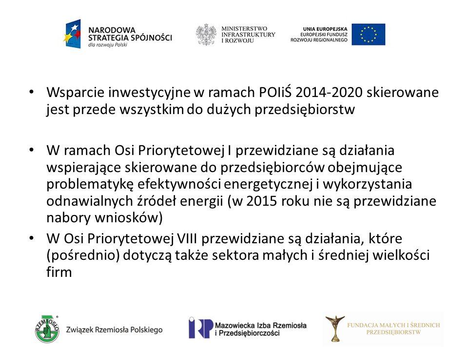 Wsparcie inwestycyjne w ramach POIiŚ 2014-2020 skierowane jest przede wszystkim do dużych przedsiębiorstw W ramach Osi Priorytetowej I przewidziane są