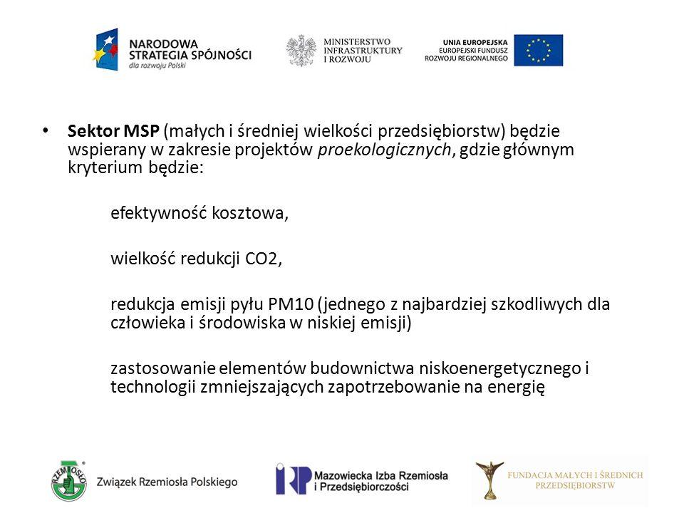 Sektor MSP (małych i średniej wielkości przedsiębiorstw) będzie wspierany w zakresie projektów proekologicznych, gdzie głównym kryterium będzie: efekt