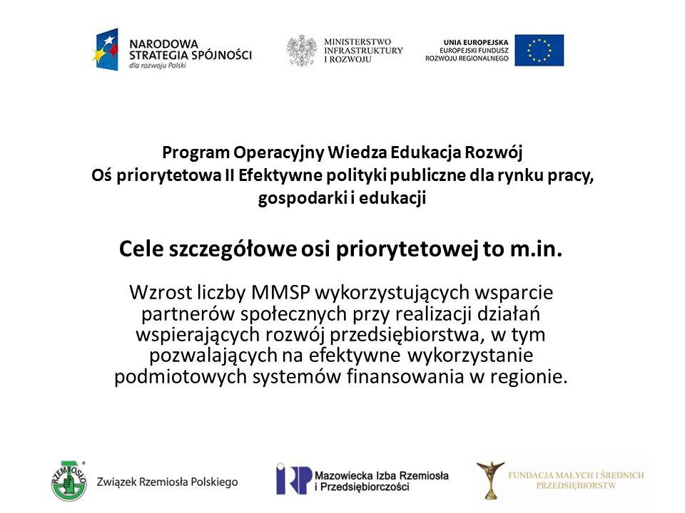 Program Operacyjny Wiedza Edukacja Rozwój Oś priorytetowa II Efektywne polityki publiczne dla rynku pracy, gospodarki i edukacji Cele szczegółowe osi