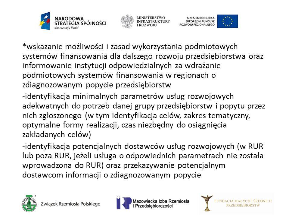 *wskazanie możliwości i zasad wykorzystania podmiotowych systemów finansowania dla dalszego rozwoju przedsiębiorstwa oraz informowanie instytucji odpo