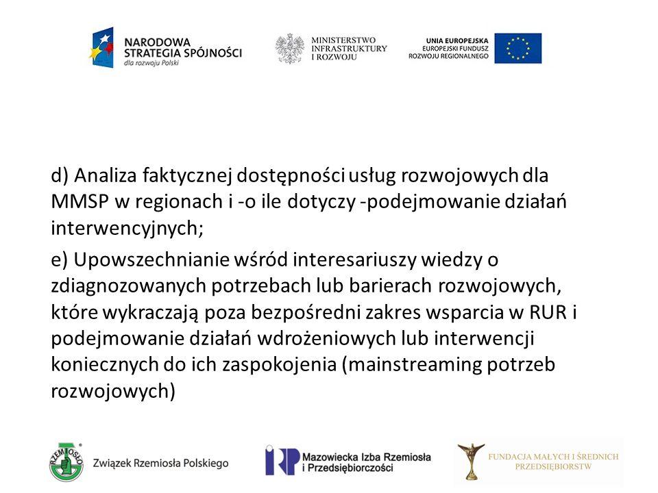 d) Analiza faktycznej dostępności usług rozwojowych dla MMSP w regionach i -o ile dotyczy -podejmowanie działań interwencyjnych; e) Upowszechnianie wś