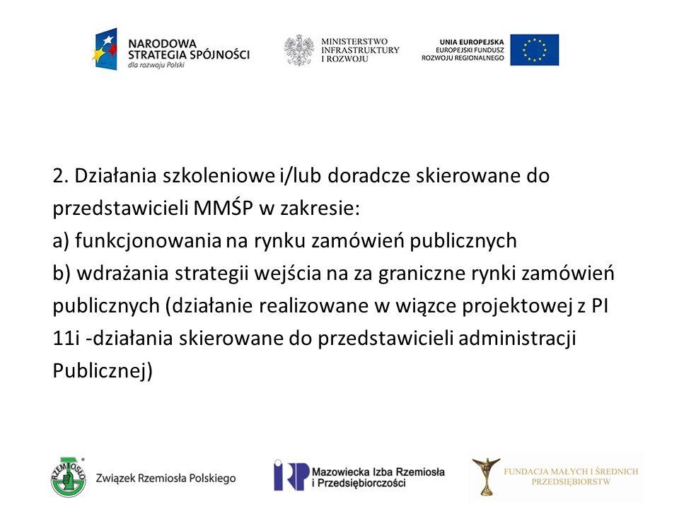 2. Działania szkoleniowe i/lub doradcze skierowane do przedstawicieli MMŚP w zakresie: a) funkcjonowania na rynku zamówień publicznych b) wdrażania st