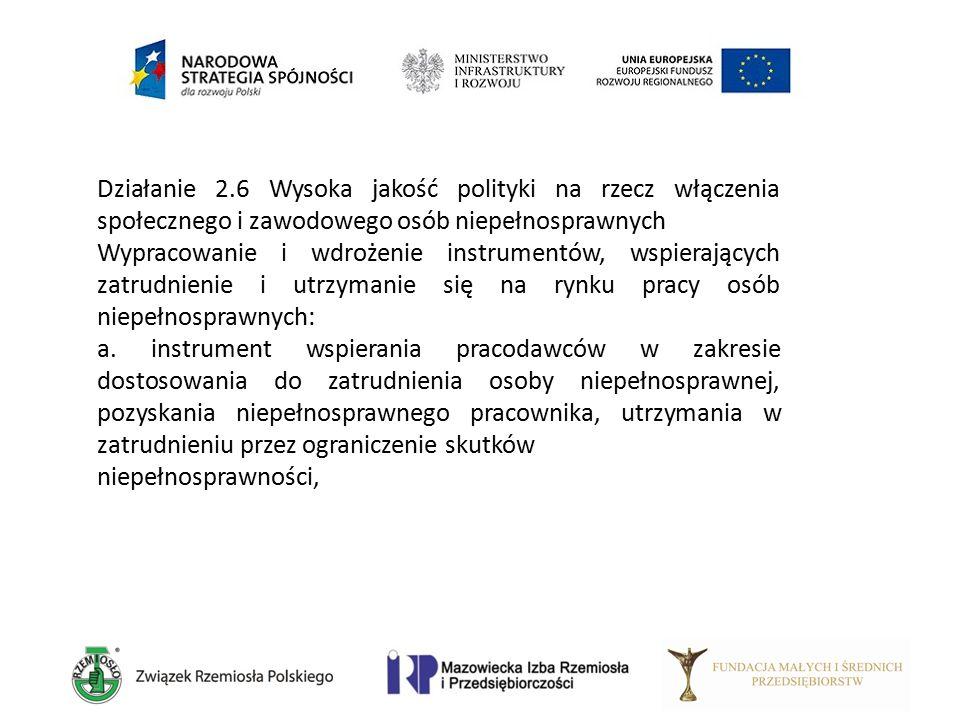 Działanie 2.6 Wysoka jakość polityki na rzecz włączenia społecznego i zawodowego osób niepełnosprawnych Wypracowanie i wdrożenie instrumentów, wspiera