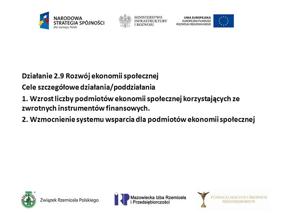 Działanie 2.9 Rozwój ekonomii społecznej Cele szczegółowe działania/poddziałania 1. Wzrost liczby podmiotów ekonomii społecznej korzystających ze zwro