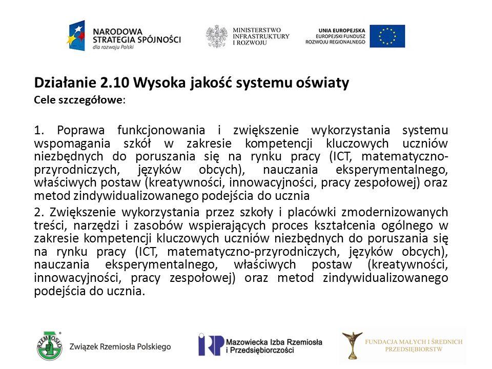 Działanie 2.10 Wysoka jakość systemu oświaty Cele szczegółowe: 1. Poprawa funkcjonowania i zwiększenie wykorzystania systemu wspomagania szkół w zakre