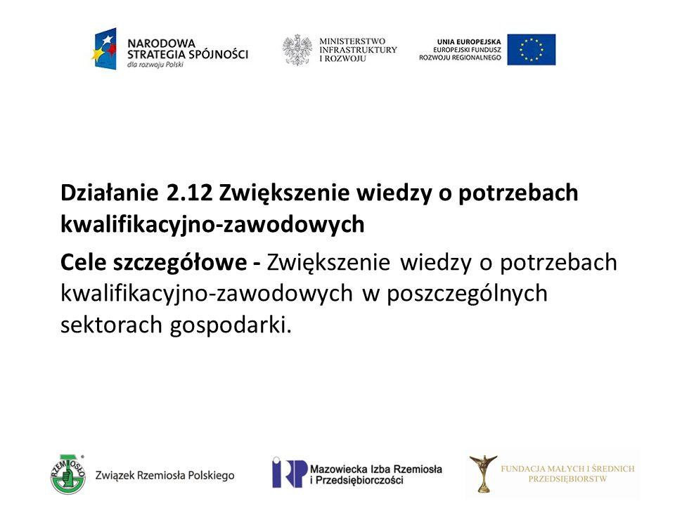 Działanie 2.12 Zwiększenie wiedzy o potrzebach kwalifikacyjno-zawodowych Cele szczegółowe - Zwiększenie wiedzy o potrzebach kwalifikacyjno-zawodowych
