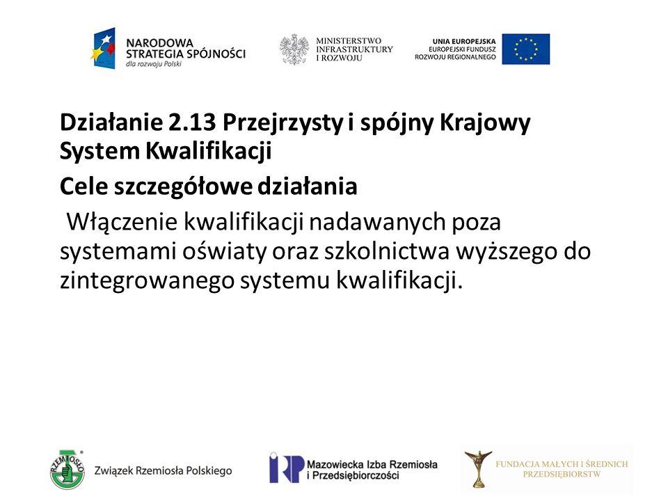 Działanie 2.13 Przejrzysty i spójny Krajowy System Kwalifikacji Cele szczegółowe działania Włączenie kwalifikacji nadawanych poza systemami oświaty or